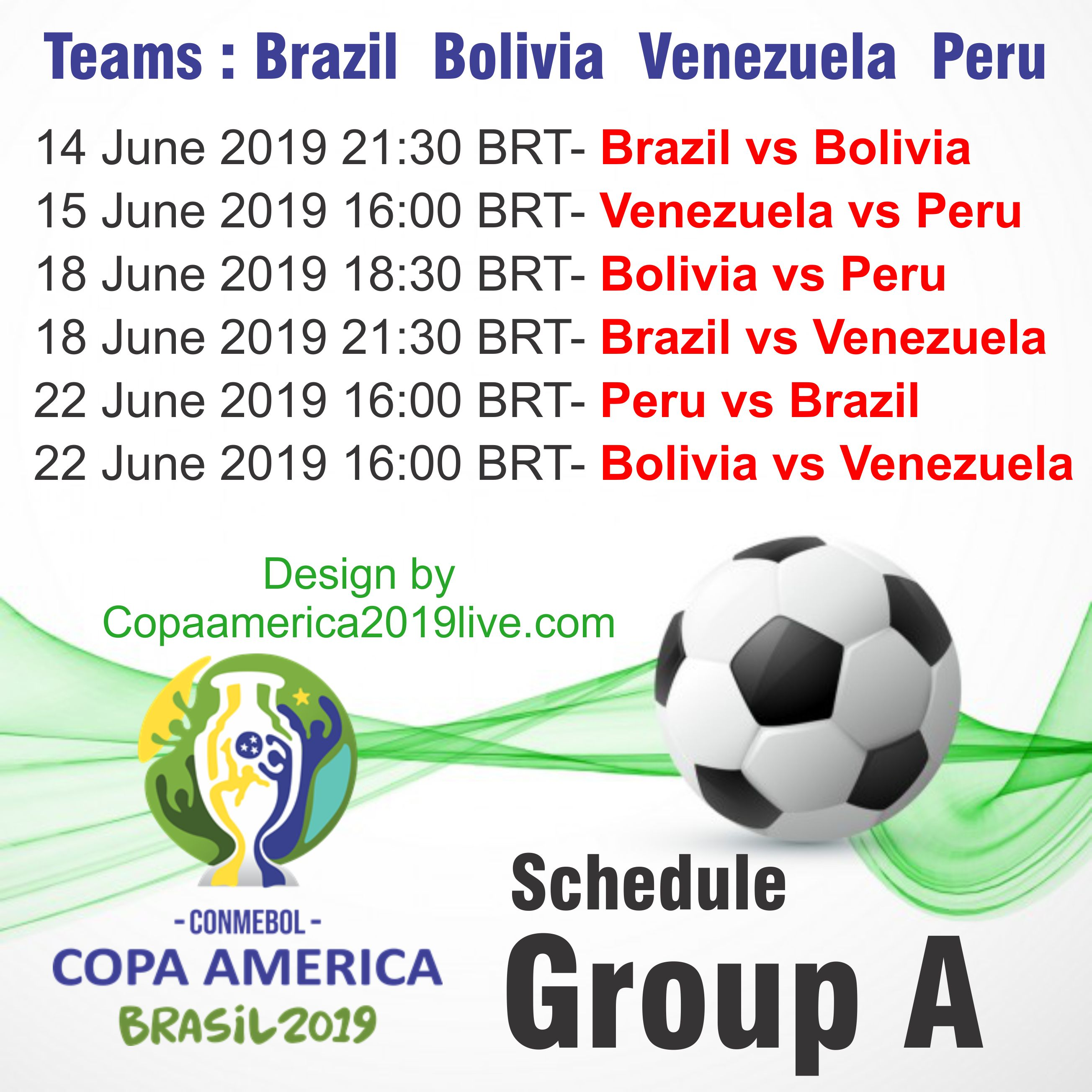 Copa America 2019 Group A Schedule wall chart
