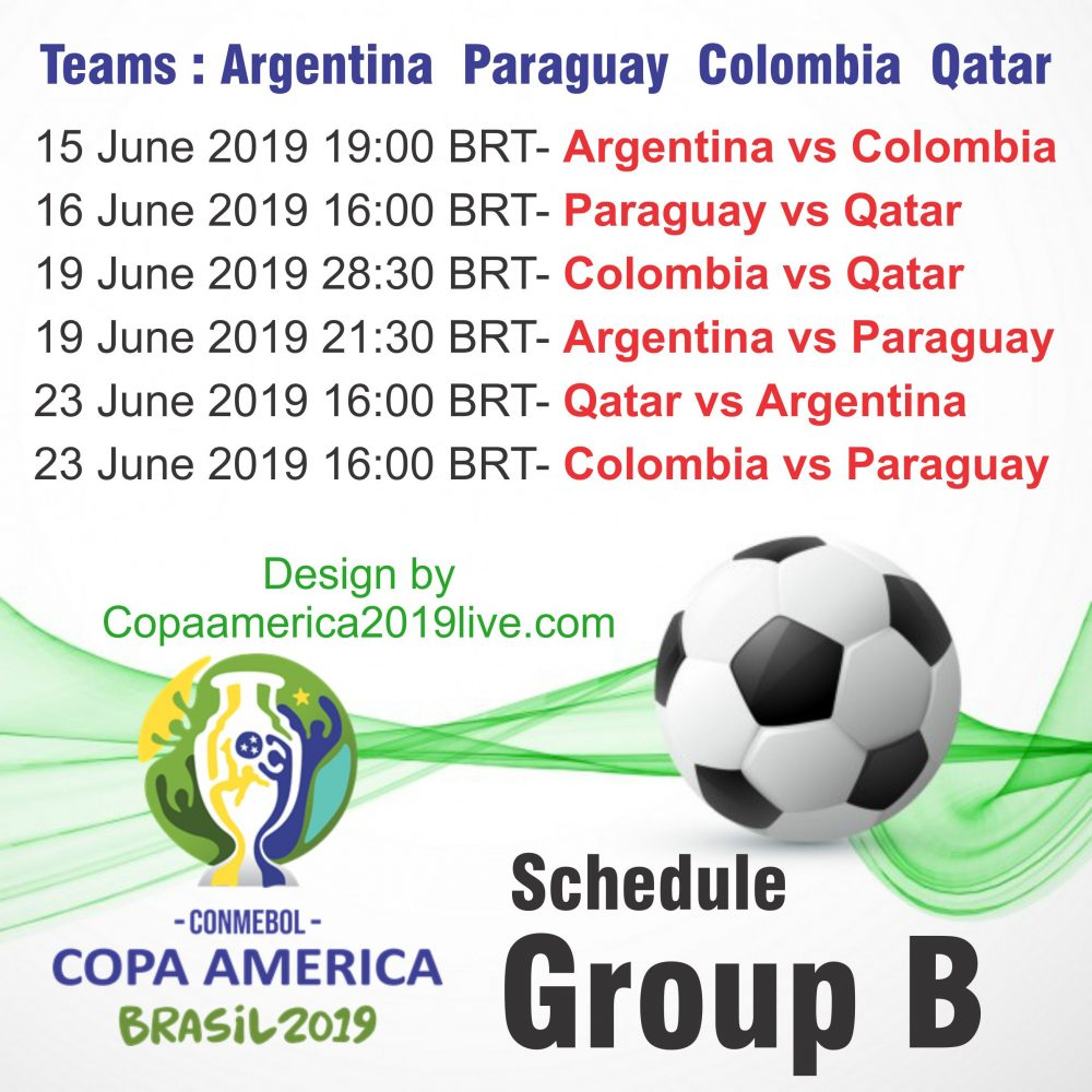Copa America 2019 Group B Schedule wall chart