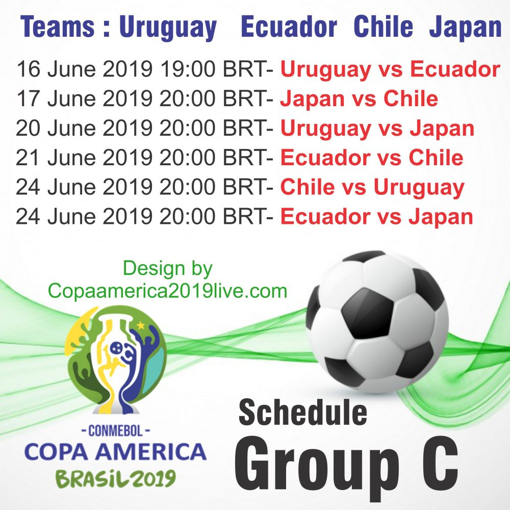 Copa America 2019 Group C Printable Schedule wall chart